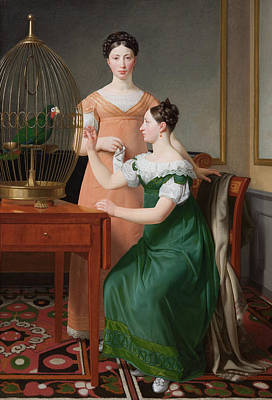 Parrot Painting - Bella And Hanna by Christoffer Wilhelm Eckersberg