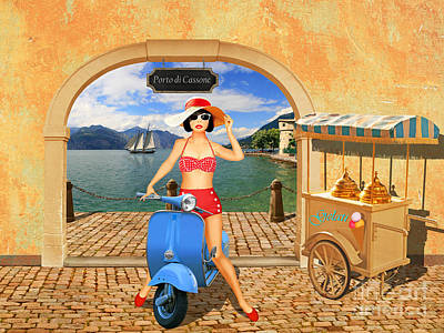 50s Mixed Media - Belladonna Want An Ice Cream by Monika Juengling