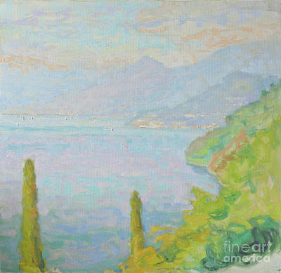 Lake Como Painting - Bellagio Blushing In An Afternoon Sky by Jerry Fresia