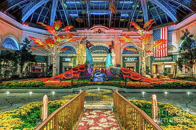Photograph - Bellagio Conservatory Fall Peacock Display Wide 2017 by Aloha Art