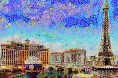 Photograph - Bellagio Hotel And Casino From Paris Hotel And Casino On Las Vegas Strip Las Vegas Nevada 20180518 by Wingsdomain Art and Photography