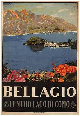 Royalty-Free and Rights-Managed Images - Bellagio, Italy - Centro Lago Di Como - Retro travel Poster - Vintage Poster by Studio Grafiikka