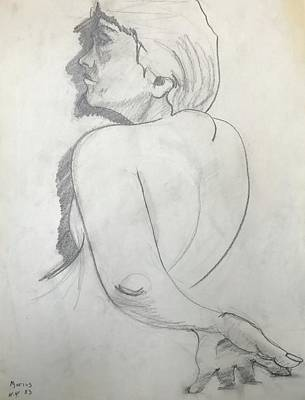 Miguel Drawing Drawing - Bellas Artes Nude by Marcos Byrd