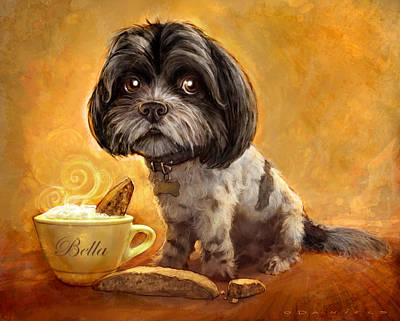 Dog Portrait Painting - Bella's Biscotti by Sean ODaniels