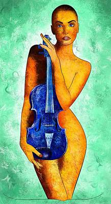 Violin Digital Art - Bellaseussa - Beauty With Violin by Cersatti
