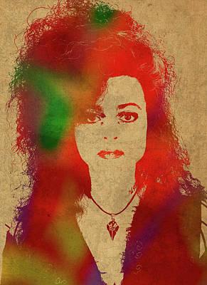 Bellatrix Lestrange Mixed Media - Bellatrix Lestrange From Harry Potter Watercolor Portrait by Design Turnpike