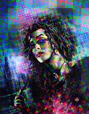 Digital Art Rights Managed Images - Bellatrix Lestrange Halftone Portrait Royalty-Free Image by Garth Glazier