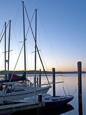 Belle Haven Marina In Alexandria Virginia At Sunrise Art Print