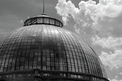 Photograph - Belle Isle Conservatory Dome Bw by Mary Bedy