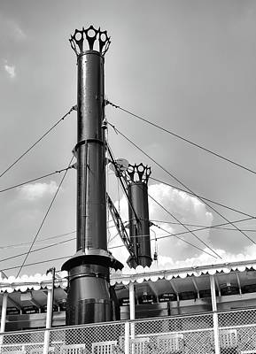 Photograph - Belle Of Louisville - Smokestacks - B/w by Greg Jackson