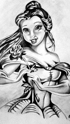 Beauty And The Beast Drawing - Belle  by Pauline Murphy