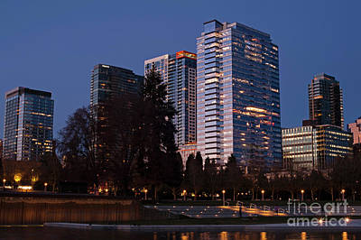 Photograph - Bellevue Skyline With City Lghts  by Jim Corwin