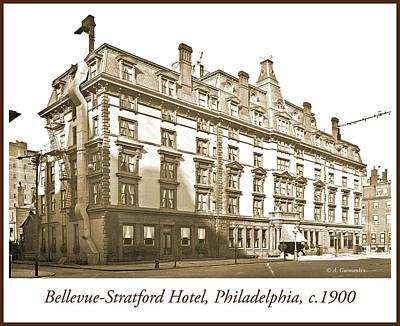 Photograph - Bellevue-stratford Hotel, Philadelphia, C.1900, Vintage Photogra by A Gurmankin
