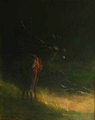 Painting - Belling Stag by Attila Meszlenyi