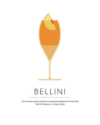 Cocktails Mixed Media - Bellini Classic Cocktail - Minimalist Print by Studio Grafiikka