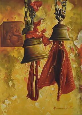 Bells And Ganesha Art Print by Kamal  Rao