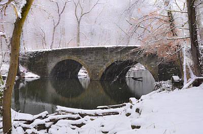 Bells Mill Bridge In A Snow Storm Art Print by Bill Cannon
