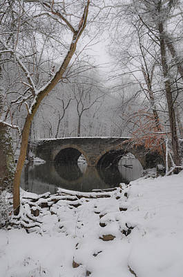 Snowy Digital Art - Bells Mill Bridge On A Snowy Day by Bill Cannon