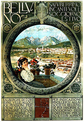 Royalty-Free and Rights-Managed Images - Belluno, Italy - Dolomites - Vintage Italian Travel Poster by Studio Grafiikka