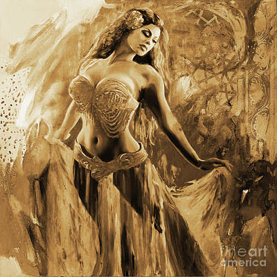 Dancers Painting - Belly Dance Painting 091 by Gull G