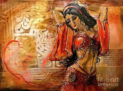 Belly Dancer Collage 01 Art Print by Yvonne Ayoub
