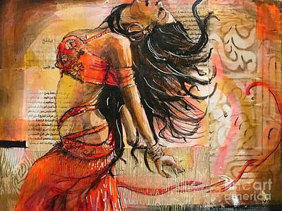 Belly Dancer Collage 02 Art Print by Yvonne Ayoub