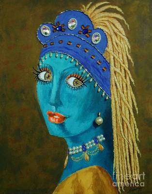 Belly Dancer With A Pearl Earring -- The Original -- Whimsical Redo Of Vermeer Painting Art Print by Jayne Somogy