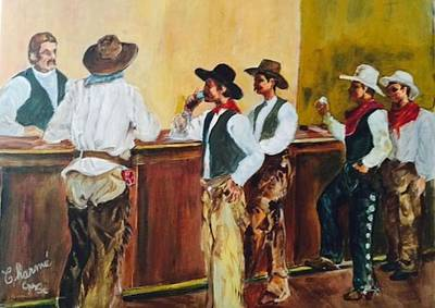 All Cowboy Painting - Belly Up To The Bar Boys by Charme Curtin