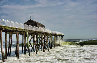 Photograph - Belmar Fishing Pier Meets Waves by Gary Slawsky