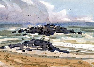 Jersey Shore Painting - Belmar Jetty Two by Donald Maier