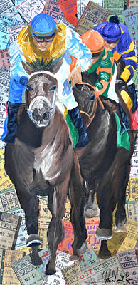 Racetrack Mixed Media - Belmont  by Michael Lee