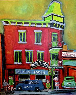 Painting - Belmont Tavern Pointe St. Charles Memories by Michael Litvack