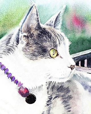 Painting - Beloved Cat Portrait  by Irina Sztukowski