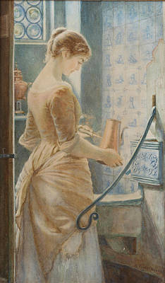 Woman Painting - Below Stairs by Arthur Foord