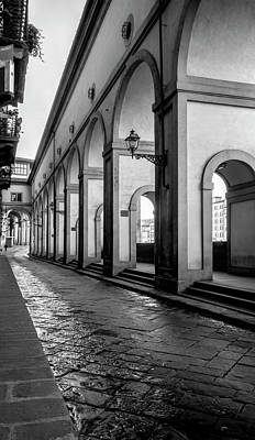 Photograph - Below The Visari Corridor Florence Italy Bw by Joan Carroll