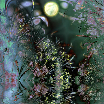 Moonscape Painting - Beltane Dragonfly Night by Mindy Sommers