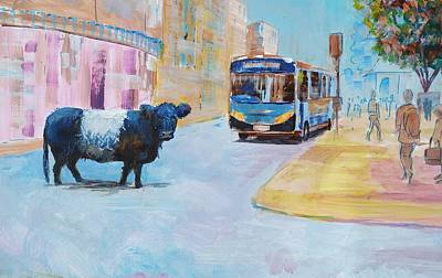Painting - Belted Galloway Cow Crossing The Road by Mike Jory