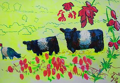 Painting - Belted Galloway Cows And Heather Illustration by Mike Jory