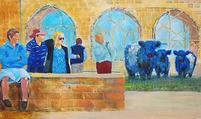 Painting - Belted Galloway Cows And People At Exeter Cathedral by Mike Jory