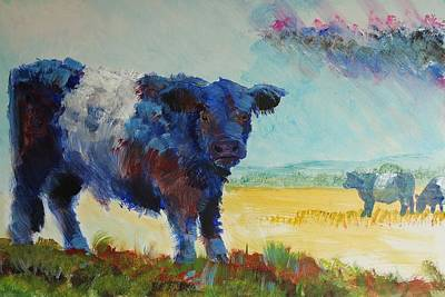 Painting - Belted Galloway Cows Painting - About To Rain by Mike Jory