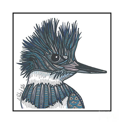 Kingfisher Mixed Media - Belted Kingfisher #30 by Allie Rowland