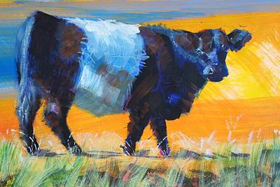 Cow Drawing - Belted Galloway Cow Side View by Mike Jory