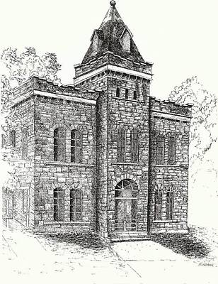 Old Caboose Drawing - Belton Jail by Barney Hedrick