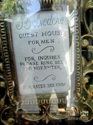 Photograph - Belvedere Guest House For Men by Ed Weidman