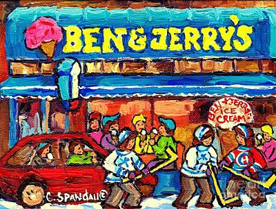 Painting - Ben And Jerry's Ice Cream Parlor Winter Hockey Scene Montreal Art Canadian Artist Carole Spandau     by Carole Spandau