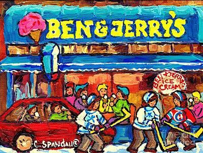 Painting - Ben And Jerry's Ice Cream Parlor Winter Hockey Scene Montreal Art Canadian Artist Carole Spandau     by Carole Spandau