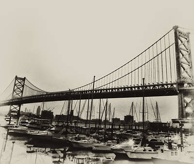 Ben Franklin Bridge From The Marina In Black And White. Art Print by Bill Cannon