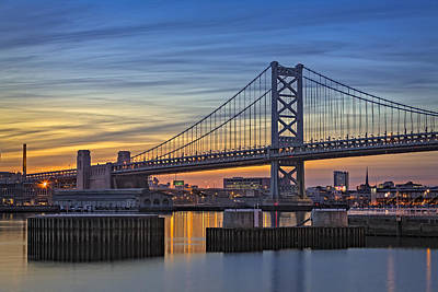 Ben Franklin Bridge Art Print by Susan Candelario