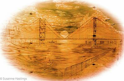 Pyrography Pyrography - Ben Franklin Bridge  by Susanne Hastings