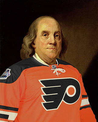 Phillies Digital Art - Ben Franklin In A Flyers Jersey by Bill Cannon